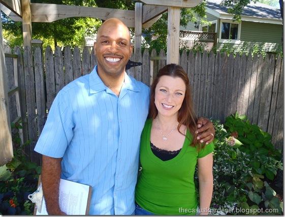 Shawna Coronado and William Moss filming at Shawna's garden 2010