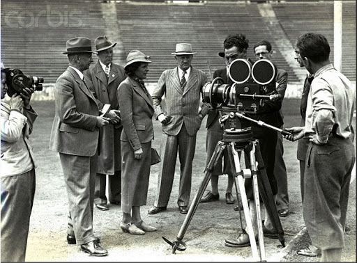 Several moments of leni riefenstahl shooting olympia