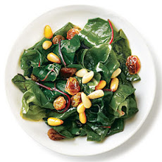 Golden Raisins and Pine Nuts Swiss Chard