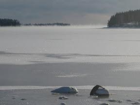 Sea smoke in Mahone Bay, Nova Scotia Canada