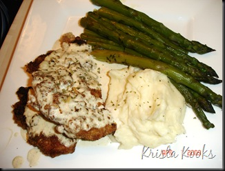 Krista Kooks Crispy Chicken Costeletta with Mashed Potatoes and Asparagus