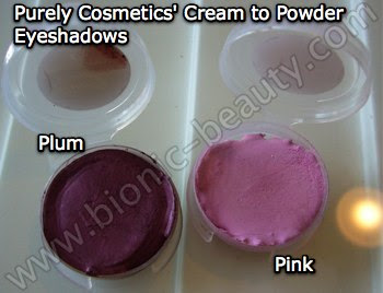 Cream to powder eye shadows in pink and plum