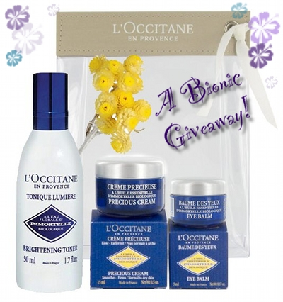 Bionic Beauty giveaway - L'Occitane Immortelle Skincare Discovery Set