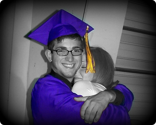 Zach's Graduation Hug