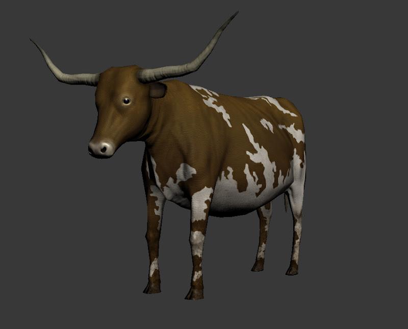 Longhorn Cattle Render