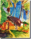 Gauguin - Thatched Hut under Palm Trees