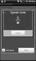 Screenshot of Voice Input for Jota