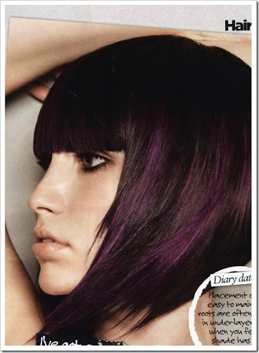 black hair with purple highlights. lack hair with purple