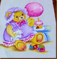 """""""pintura fralda menina, ursinha com brinquedos"""""""