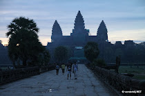 The silhouette of the Angkor Wat ruins around 5 o'clock in the morning