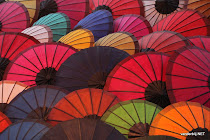 Colourful umbrellas in a Luang Prabang (Laos) street