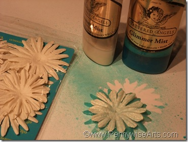 7. Spray color and shimmer on white flowers