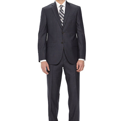 Neiman Marcus Two-Piece Neat Wool Suit, Navy - (46L)