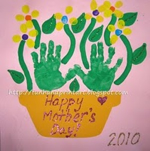 mother's day handprint flowerpot