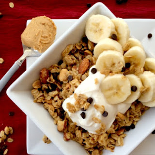 Peanut Butter Chocolate Chip Granola with Bananas