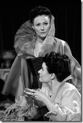 Frances Barber (standing) and Monica Dolan (seated) are sisters Goneril and Regan in the Royal Shakespeare Company production of King Lear.