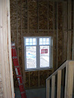 Windows installed in the rear stairwell