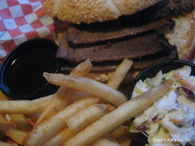 Beef Brisket Sandwich with Fries and Coleslaw at Calhoun's in Knoxville, TN