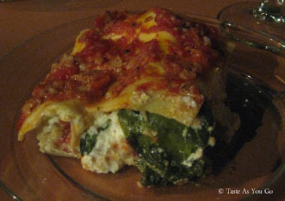 Lasagna with Orange Basil Tomato Sauce and Ricotto - Photo by Taste As You Go