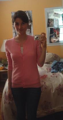 brightened pink sweater