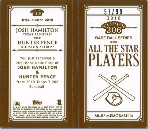 2010 T206 Hamilton Pence Mini Book Back