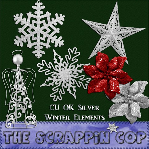 "Free ""Silver Winter Elements"" from The Scrappin Cop - {CU}"