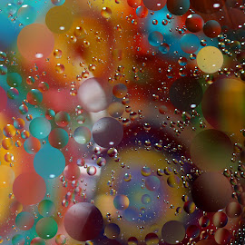 Mezmerizing Colors by Janet Herman - Abstract Macro ( water, abstract, oil and water, macro, colors, floating, reflections, mezmerize, spheres, mezmerizing, oil )