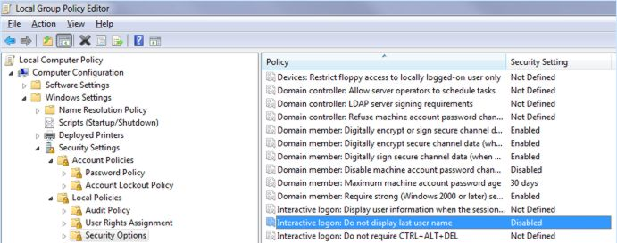 Local Group Policy Editor Screenshot