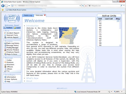 Screenshot of the Radio Room homepage