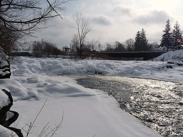 waterfalls on the garsse river completely frozen over