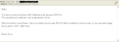Malware on iTunes Gift Certificate Email Notice