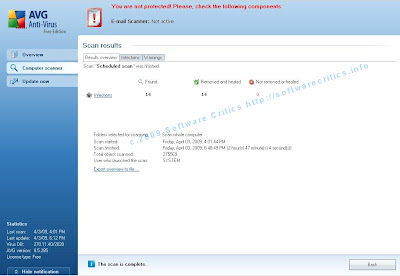 AVG Antivirus software detects and removes Conficker from Zen Stone MP3 player