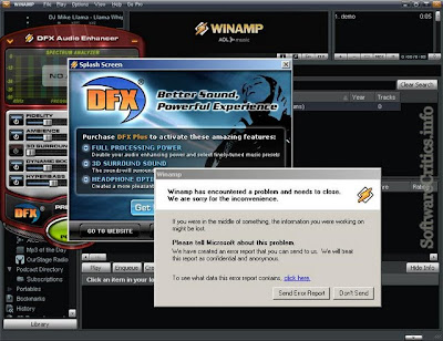 DFX 9.1 Audio Enhancement plugin caused Winamp 5.552 to crash
