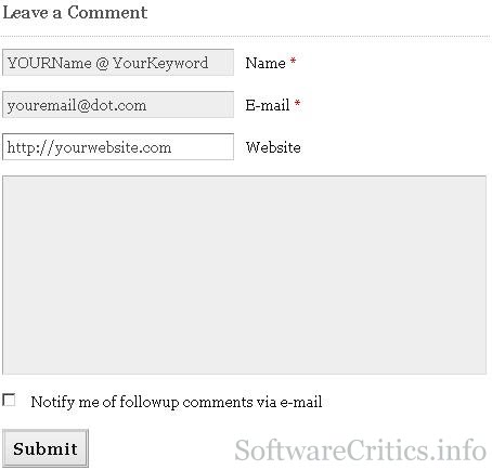 How to fill-out comment form on Keywordluv enabled blogs
