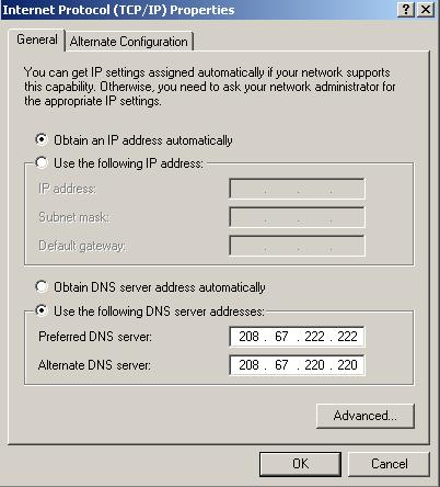 OpenDNS server settings in WindowsXP