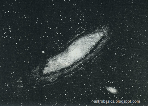 An early photograph of the Andromeda Galaxy, then thought to be a nebula in our galaxy.