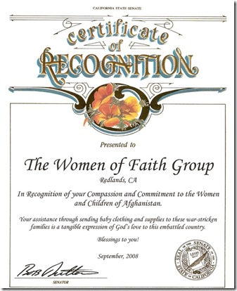 certificate from CA senate 2008