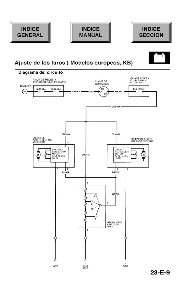 Honda Civic 96 00 EDM Power Adjustable Headlights Wiring Diagram %28Spanish%29 96 civic wiring diagram diagram wiring diagrams for diy car repairs integra headlight wiring diagram at soozxer.org
