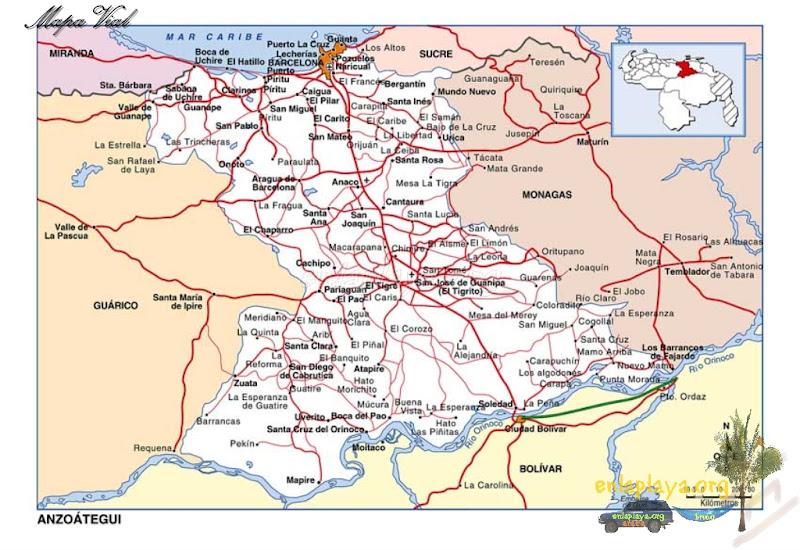 Mapa vial del Estado Anzoategui