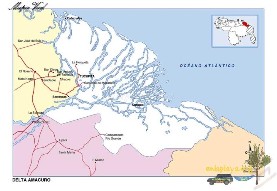 Mapa vial del Estado Delta Amacuro