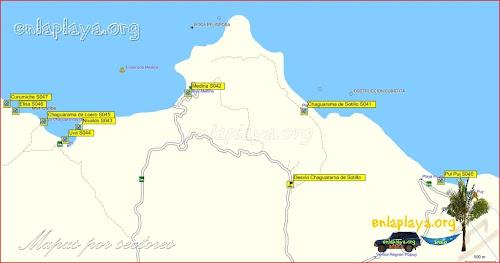 Mapa Playa Medina - Playas desde Curumiche hasta Pui Pui