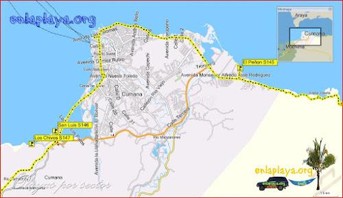 Mapa Cumana - Playas desde Los Chivos hasta El Peñon