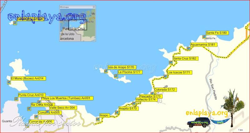 Arapito - Playas desde Punta Cruz hasta Santa Fe