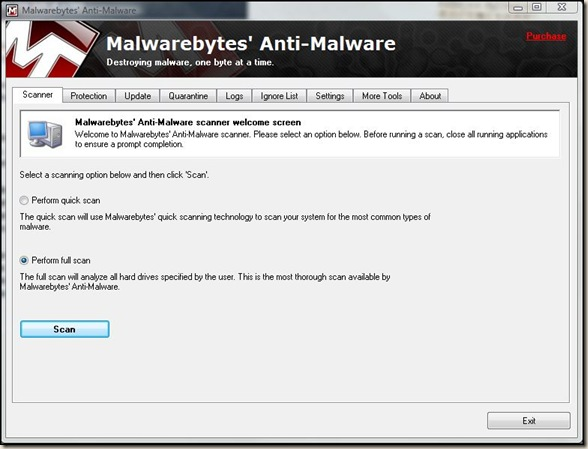 Malwarebytes screen shot