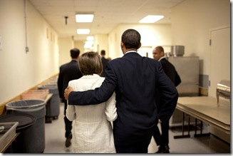 President Barack Obama walks with Speaker of the House  Nancy Pelosi backstage at a Democratic fundraiser in Washington, D.C., June 18, 2009. (Official White House Photo by Lawrence Jackson)  This official White House photograph is being made available for publication by news organizations and/or for personal use printing by the subject(s) of the photograph. The photograph may not be manipulated in any way or used in materials, advertisements, products, or promotions that in any way suggest approval or endorsement of the President, the First Family, or the White House.
