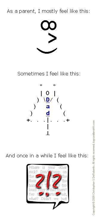 How I Feel as a Parent (ASCII-ish) (c) Copyright 2009 Christopher V. DeRobertis. All rights reserved. insilentpassage.com
