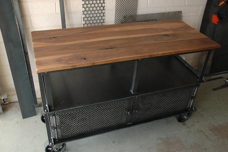 vintage industrial media console table  3