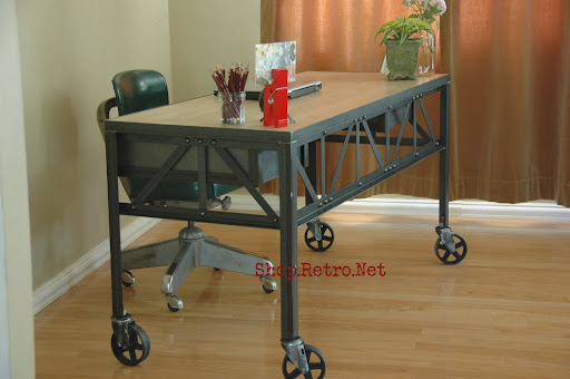 Charming French Vintage Industrial Steel And White Oak Desk On Casters.   Http://