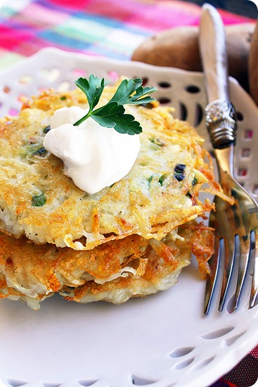 Scallion and Parmesan Potato Pancakes