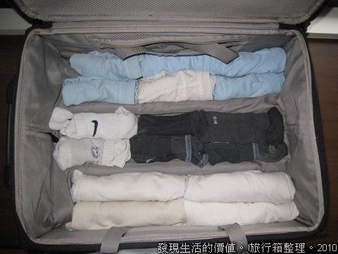 我的行李箱因為底層有一些肋條,所以我都會用內衣褲及襪子把行李箱的底層全部填滿,目的是避免衣服、褲子放上去後因為不平整而有皺摺。